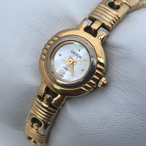 Croton Ladies Watch 23K Gold Plated Mother of Pear